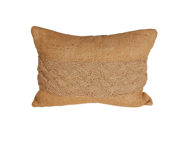 Hand Knit Jute and Burlap Pillow