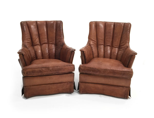 French Leather Baseball Chairs