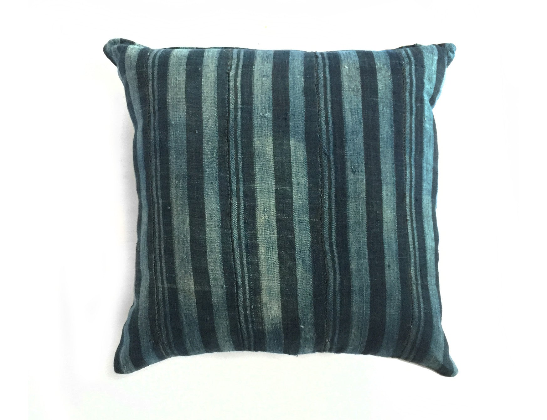 Indigo stripe African pillow