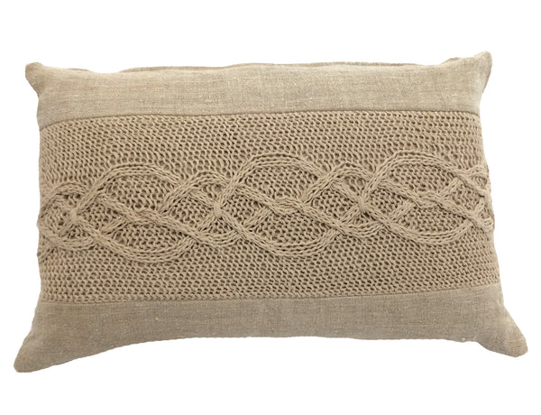 Hand Knit Hemp Pillow