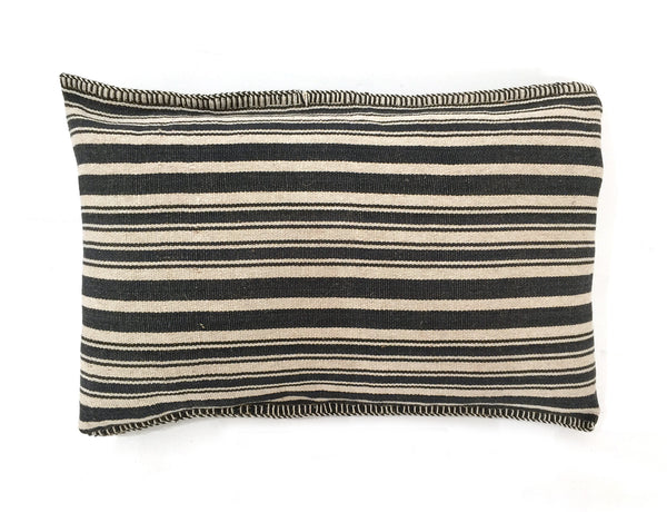 Dark Blue Striped Pillow