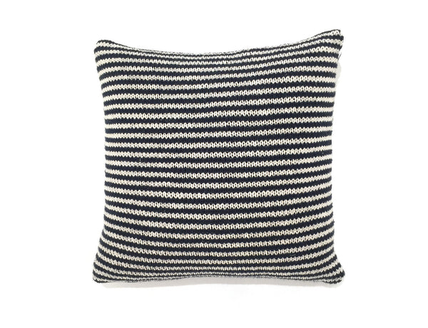 Indigo & Ivory Striped Pillow