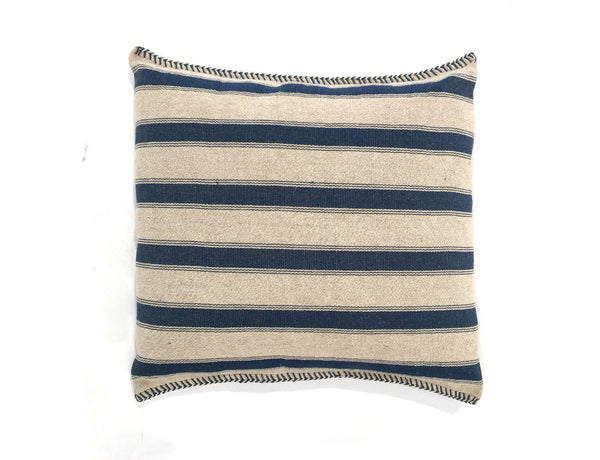 Square Blue Striped Pillow