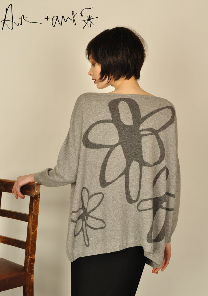 Floral ( Grey ) Knit