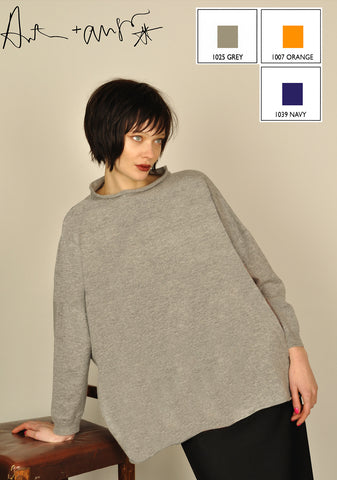 Plain Big Jumper Funnel Neck