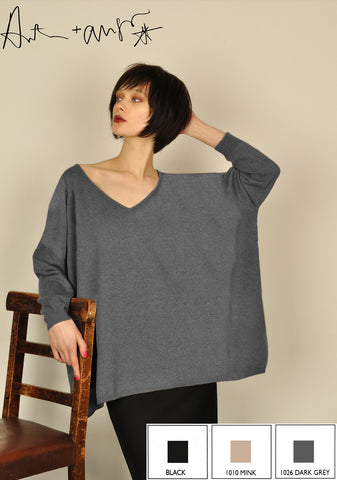 Plain Big V Neck Jumper