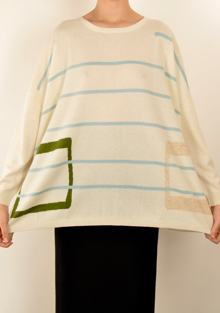 Blue Linear Square Knit