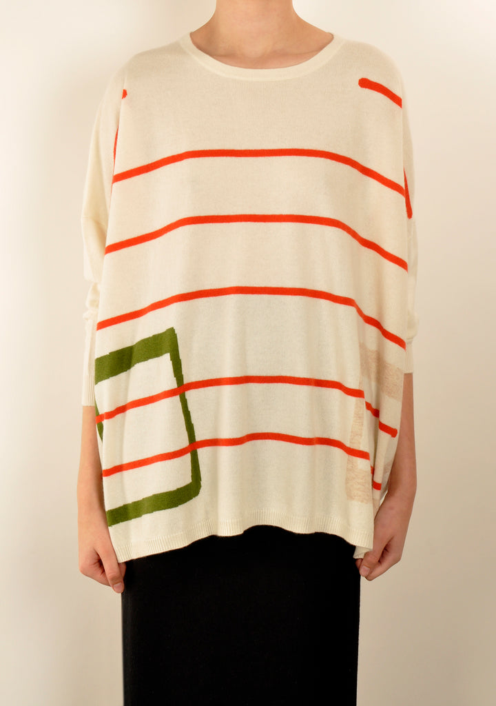 Red Linear Square Knit