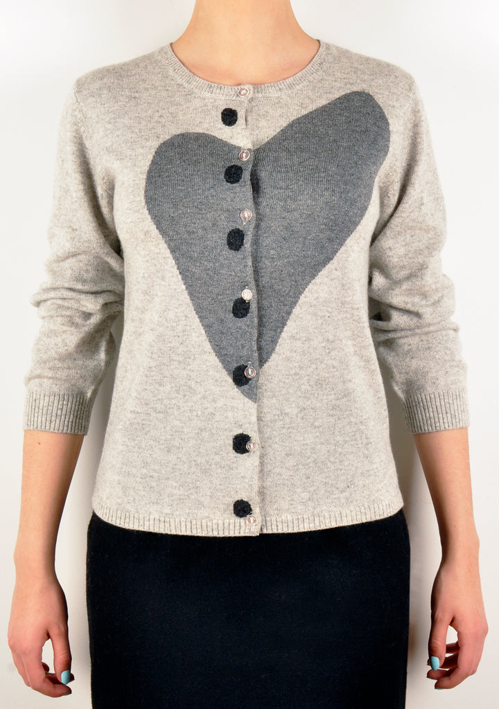 Grey Heart Knit Cardigan (A&A Archive)