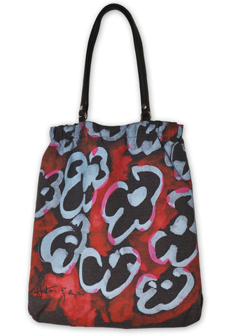 Black Flowers Shopper