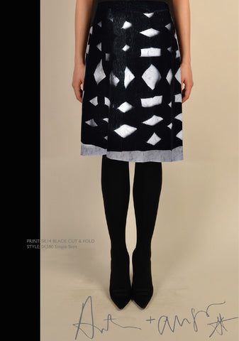 Black Cut & Fold Skirt