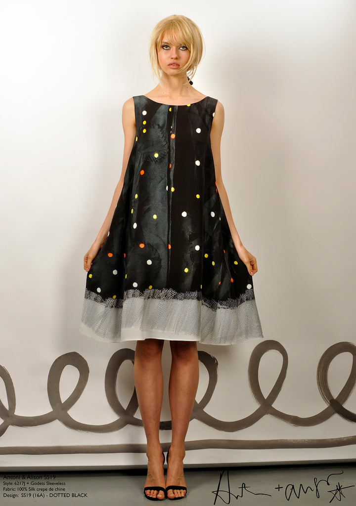 Dotted Black Godet Dress
