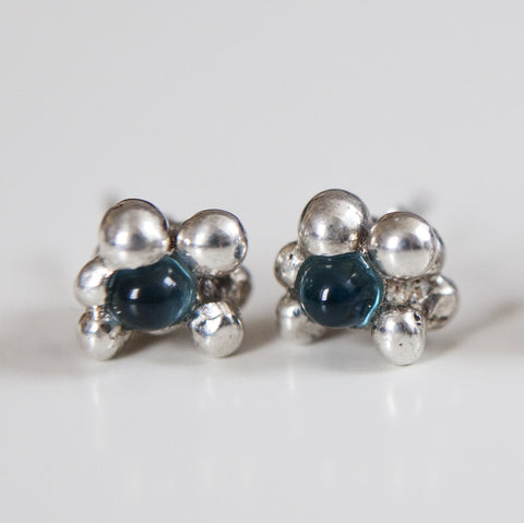 LONDON BLUE TOPAZ BUBBLE STUDS silver