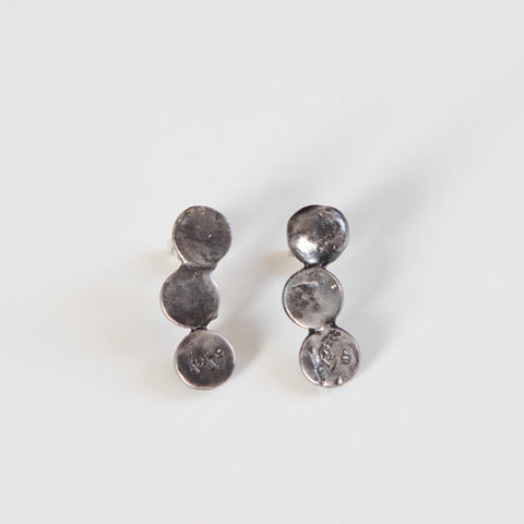 CASCADE CIRCLE EARRINGS oxidized silver