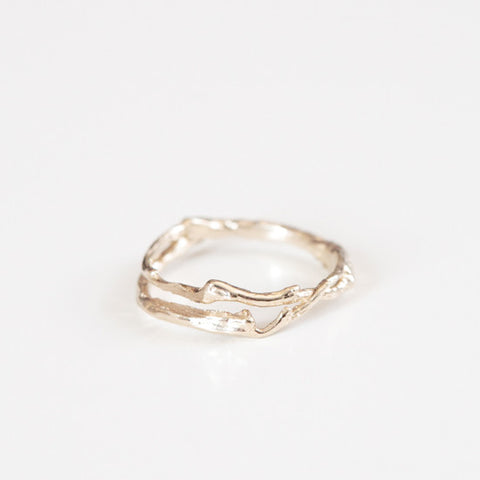 yellow gold branch wedding ring