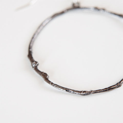 BRANCH HOOP EARRINGS {oxidized silver}
