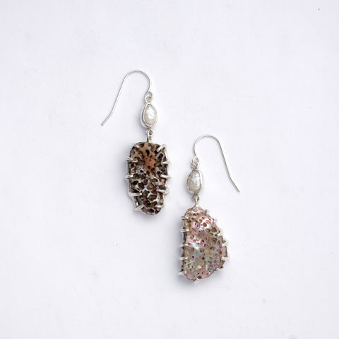 """FOUND TREASURE"" ABALONE & PEARL EARRINGS"