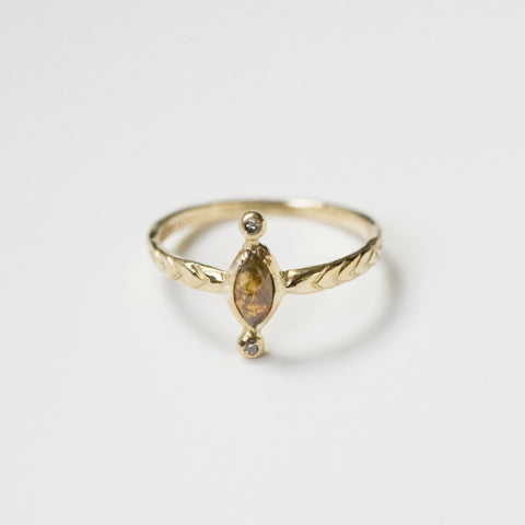 AMBER DIAMOND RING {14K yellow gold}
