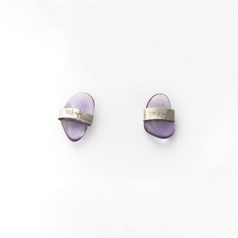 AMETHYST STUD EARRINGS {SILVER}