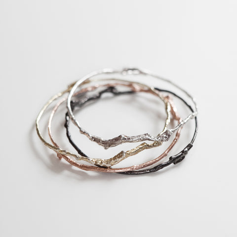 Branch Bangle in Recycled Sterling Silver, Rose Gold, Yellow Gold and Oxidized Sterling silver