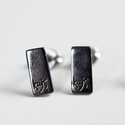RECTANGULAR EARRINGS oxidized silver