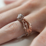 uncut diamond with rose gold branch wedding ring