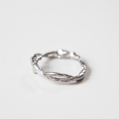 white gold branch wedding ring