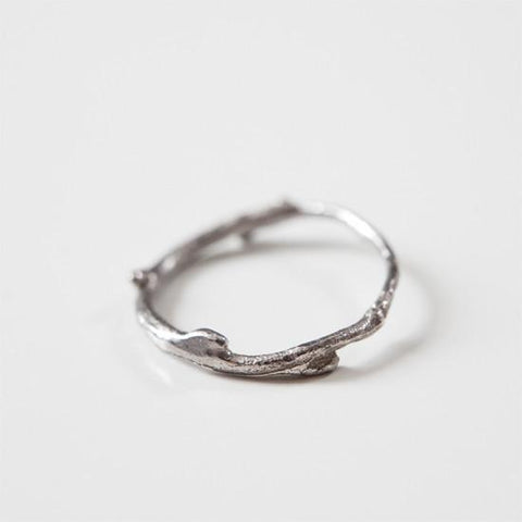 Thin Silver branch wedding ring