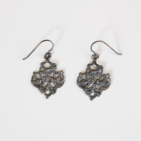 LACE DOILY EARRINGS oxidized silver