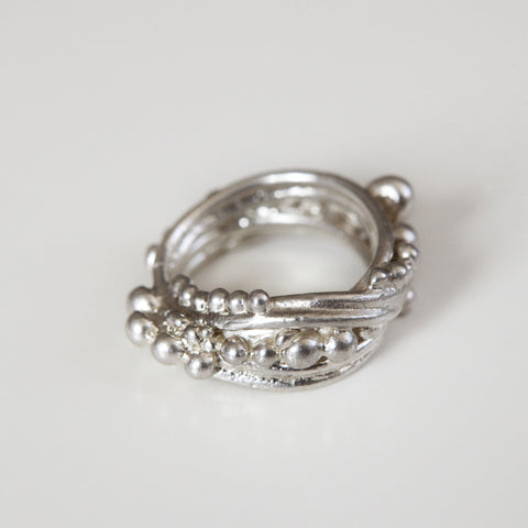 BANDED BUBBLE RING {silver}
