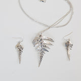 Fern Earrings in Recycled Sterling Silver with Fern Pendant