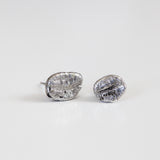COFFEE BEAN STUDS silver