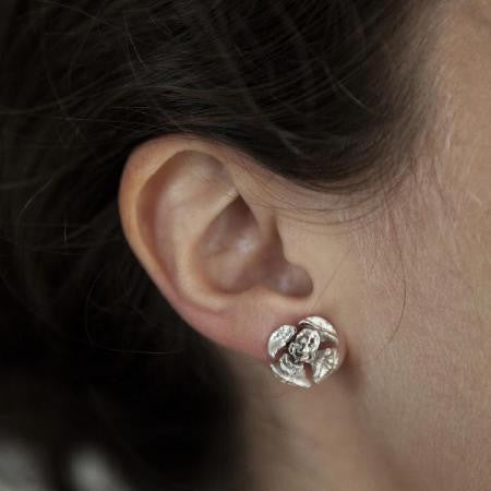 Pine Cone Stud Earrings in Sterling Silver