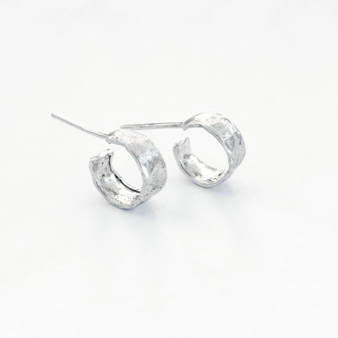 SMALL HOOP STUDS {SILVER}