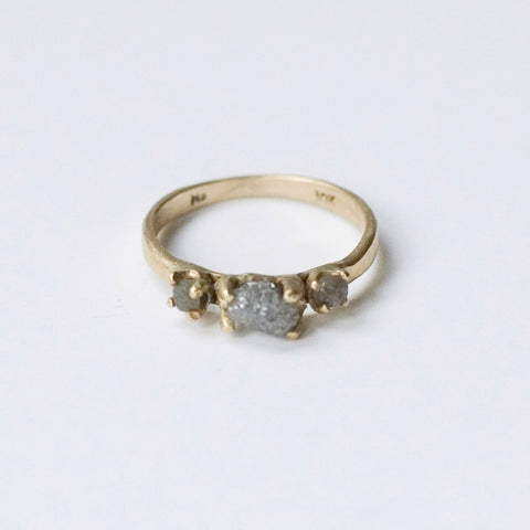 UNCUT DIAMOND & SAPPHIRE RING {10K YELLOW GOLD}