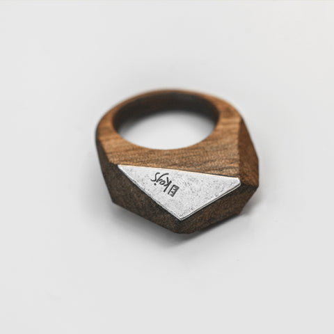 GEOMETRIC WALNUT WOOD RING {silver & wood}