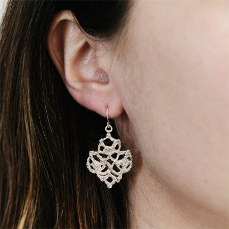 LACE DOILY EARRINGS silver