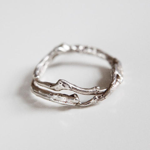 Recycled Silver branch wedding ring