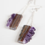 AMETHYST SLICE EARRINGS {silver}