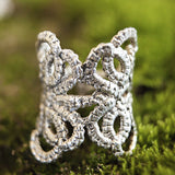 WIDE TATTED LACE RING silver