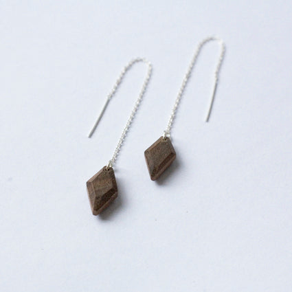 GEM {wood threaded earrings}