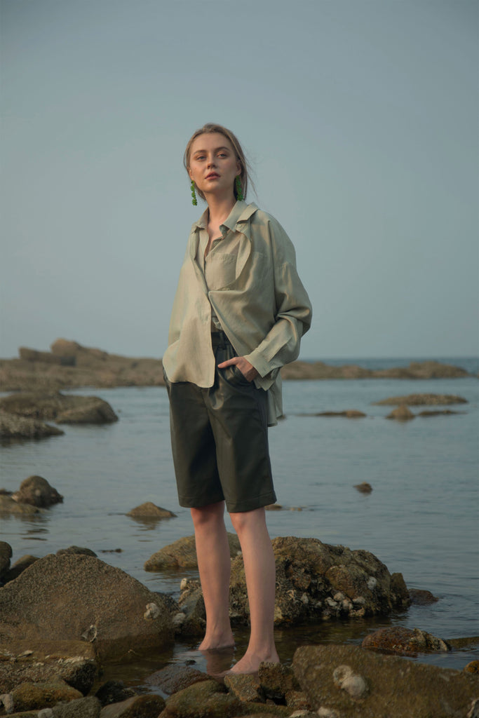 Sage-Oversized Lightweight Shirt
