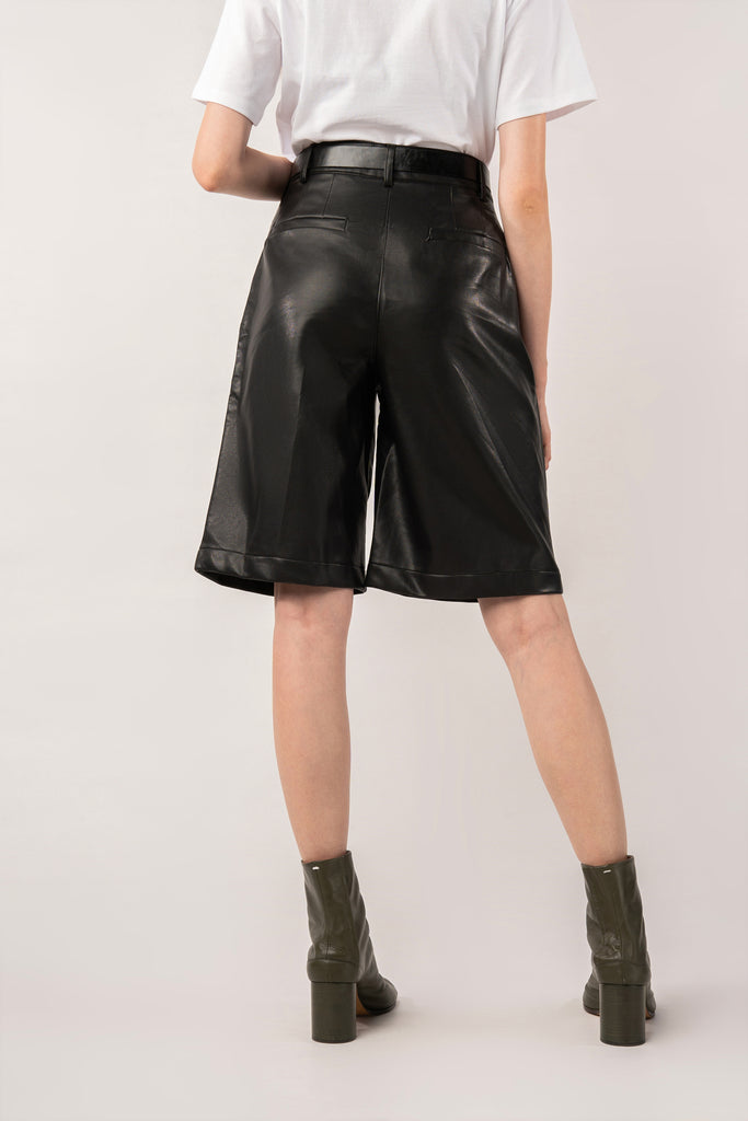 Charcoal-Black Faux Leather Pants