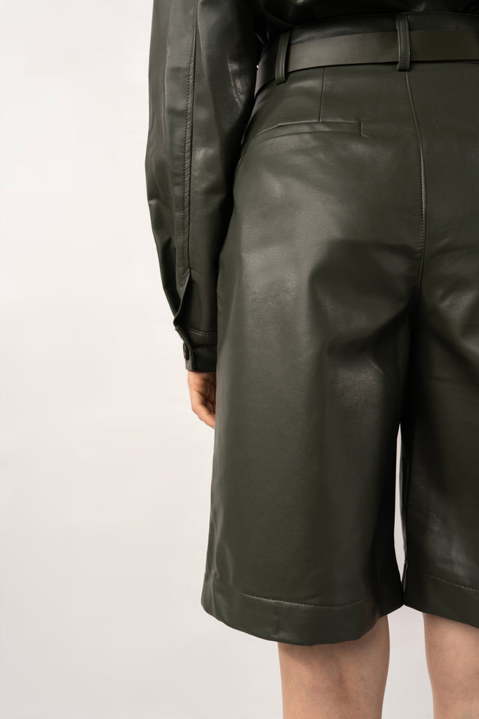 Palm-Dark Green Faux Leather Pants