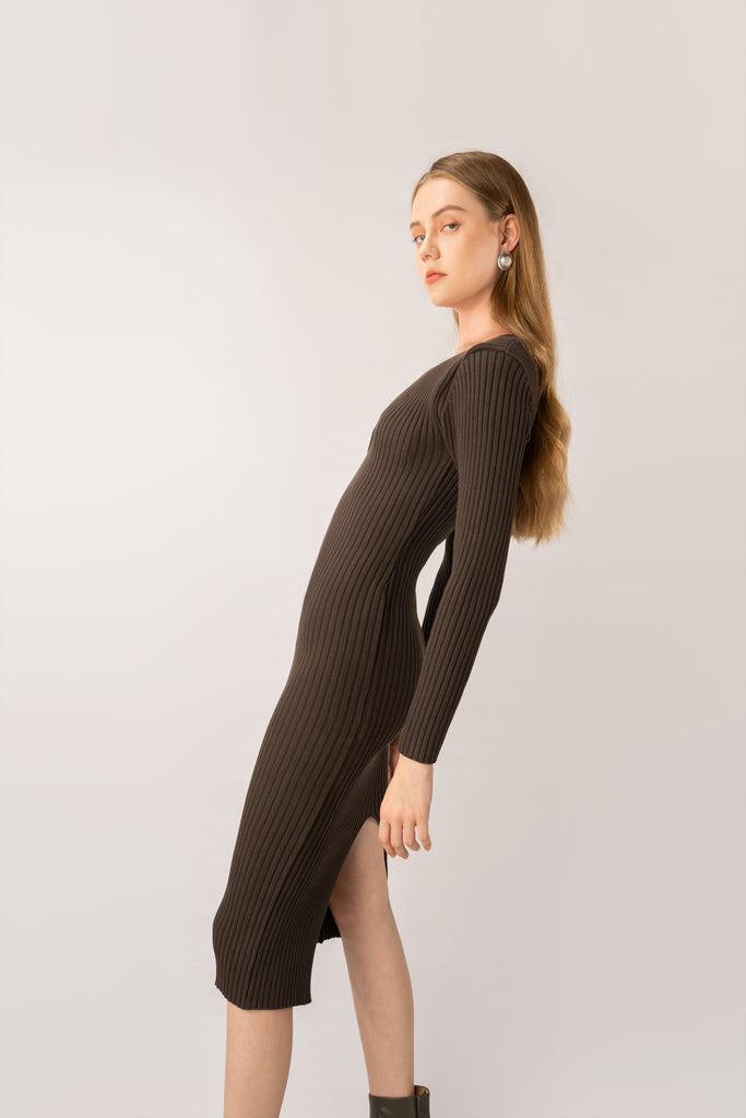 Olive-Wool Knitted Midi Dress