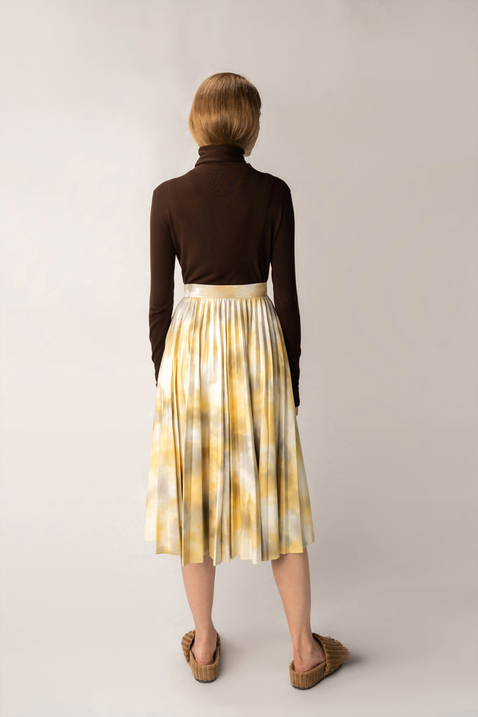 Primrose-Abstract Print Faux Leather Skirt