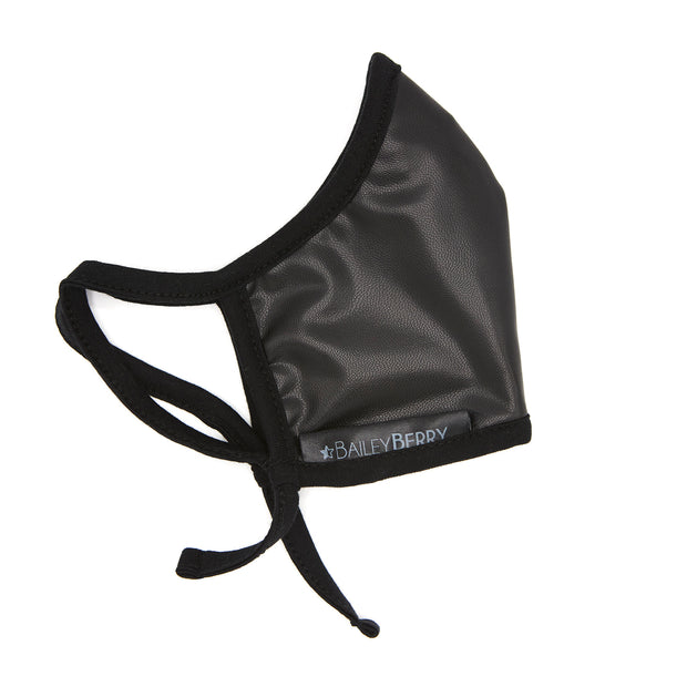 VEGAN Leather Adult Black Face Mask with Adjustable Straps, Filter Pocket