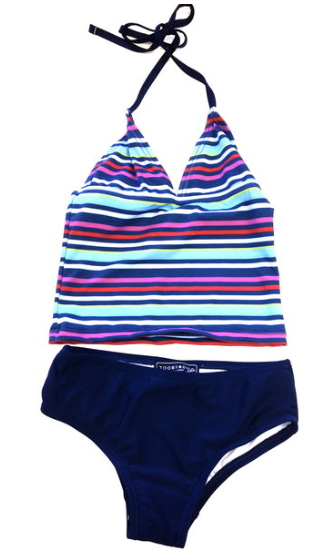 Multi Stripe & Navy Tankini