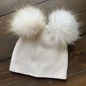 Double Fur Pom Hat *Kids* (2 pom color options)