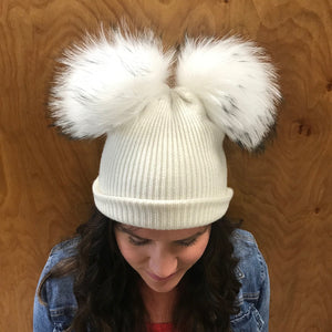 Ribbed Merino Double Pom Hat